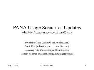 PANA Usage Scenarios Updates (draft-ietf-pana-usage-scenarios-02.txt)