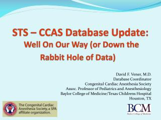 STS   CCAS Database Update:  Well On Our Way or Down the Rabbit Hole of Data