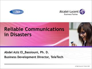 Reliable Communications  in Disasters
