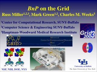 BnP  on the Grid Russ Miller 1,2,3 , Mark Green 1,2 , Charles M. Weeks 3