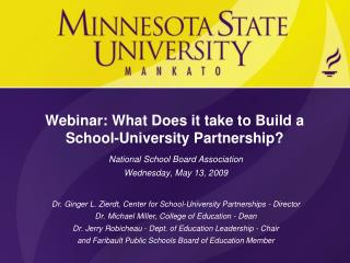 Webinar: What Does it take to Build a School-University Partnership?
