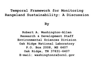 Temporal Framework for Monitoring Rangeland Sustainability: A Discussion By