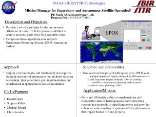 Mission Manager for Supervisory and Autonomous Satellite Operations