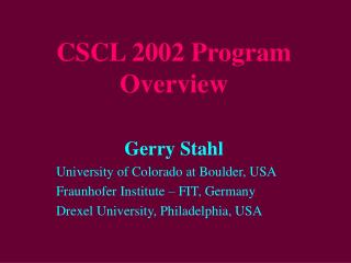 CSCL 2002 Program Overview