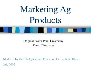 Marketing Ag Products