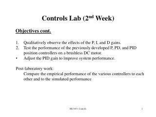 Controls Lab (2 nd  Week) 