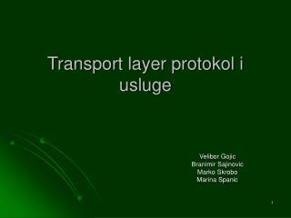 Transport layer protokol i usluge