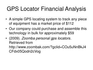 GPS Locator Financial Analysis
