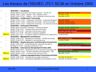 Les travaux de l'ISO/IEC JTC1 SC36 en Octobre 2005