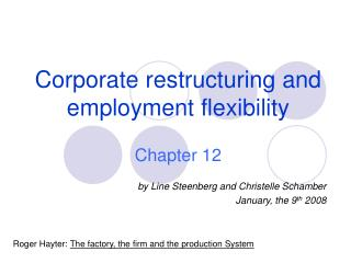 Corporate restructuring and employment flexibility Chapter 12