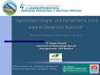 Instituto Nacional de  Tecnología Agropecuaria Ministerio de Agricultura, Ganadería y Pesca