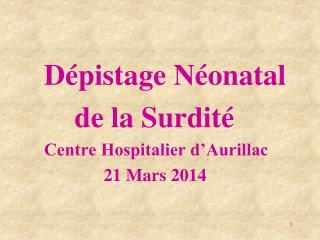 Dépistage Néonatal   de la Surdité Centre Hospitalier d'Aurillac  21 Mars 2014