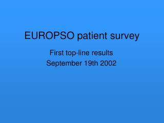 EUROPSO patient survey