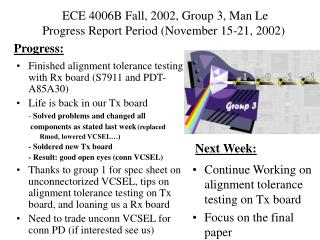 ECE 4006B Fall, 2002, Group 3, Man Le      Progress Report Period (November 15-21, 2002)