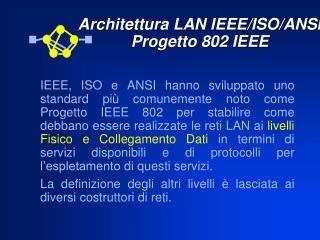Architettura LAN IEEE/ISO/ANSI Progetto 802 IEEE