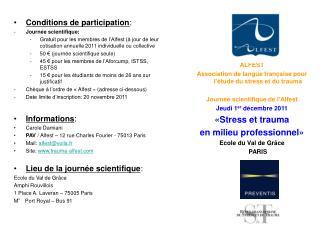 Conditions de participation : Journée scientifique: