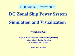 DC Zonal Ship Power System Simulation and Visualization