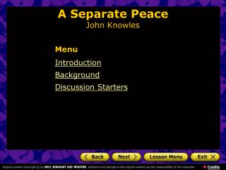 A Separate Peace John Knowles