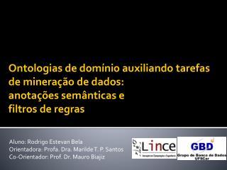 Aluno: Rodrigo Estevan Bela Orientadora: Profa. Dra. Marilde T. P. Santos