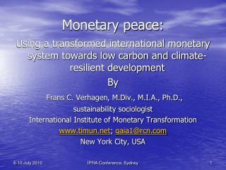 Monetary peace: