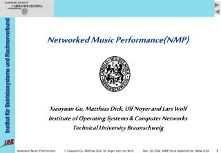 Networked Music Performance(NMP)