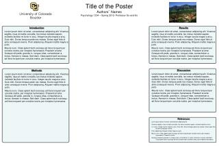 Title of the Poster Authors '  Names Psychology 1234 – Spring 2012- Professor So-and-So
