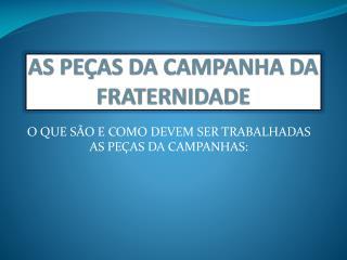 AS PEÇAS DA CAMPANHA DA  FRATERNIDADE