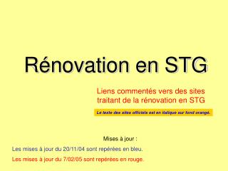 Rénovation en STG