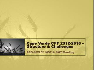 Cape Verde CPF 2012-2016 – Structure & Challenges  FAO-SFW 5 th  MDT & SMT Meeting
