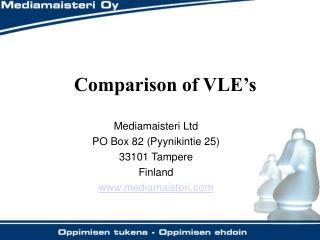 Comparison of VLE's