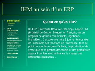 IHM au sein d'un ERP