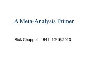 A Meta-Analysis Primer