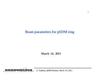 Beam parameters for pEDM ring