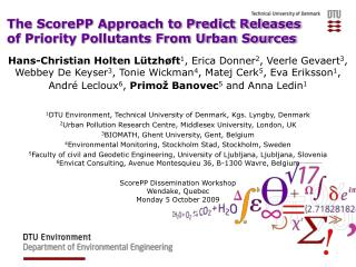 The ScorePP Approach to Predict Releases  of Priority Pollutants From Urban Sources