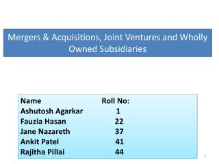 Mergers & Acquisitions , Joint  Ventures and Wholly Owned Subsidiaries