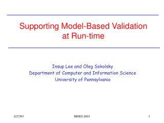 Supporting Model-Based Validation at Run-time