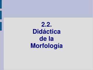 2.2.  Didáctica  de la  Morfología