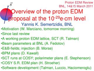Overview of the proton EDM proposal at the 10 -29 e cm level Yannis K. Semertzidis, BNL