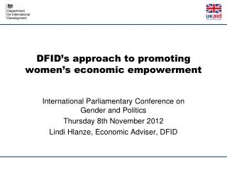 DFID's approach to promoting women's economic empowerment