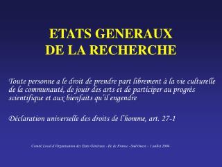 ETATS GENERAUX  DE LA RECHERCHE