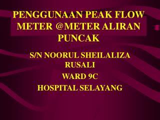 PENGGUNAAN PEAK FLOW METER @METER ALIRAN PUNCAK