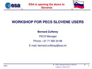 ESA is opening the doors to Slovenia