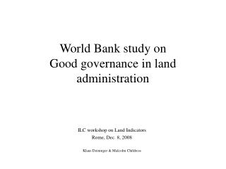 World Bank study on  Good governance in land administration