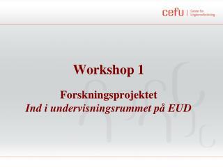 Workshop 1 Forskningsprojektet  Ind i undervisningsrummet på EUD
