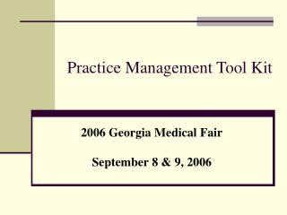 Practice Management Tool Kit