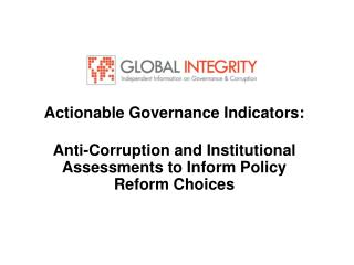 Actionable Governance Indicators: