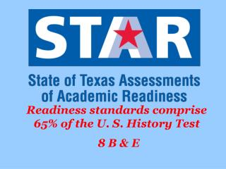 Readiness standards comprise 65% of the U. S. History Test