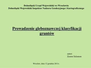 Dolnoslaski Urzad Wojew dzki we Wroclawiu Dolnoslaski Wojew dzki Inspektor Nadzoru Geodezyjnego i Kartograficznego
