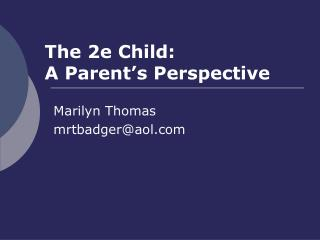 The 2e Child:  A Parent's Perspective