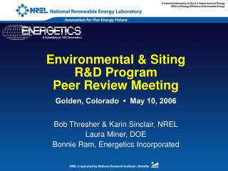 Environmental & Siting  R&D Program Peer Review Meeting
